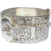 Antique Victorian Sterling Silver Wide Etched Buckle Bangle