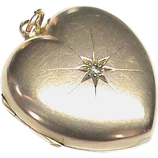 Antique Victorian 9k Gold Back & Front Heart Locket with a Diamond