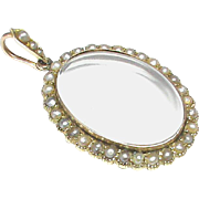 Antique Victorian c1900 9k Gold Seed Pearl Locket Pendant