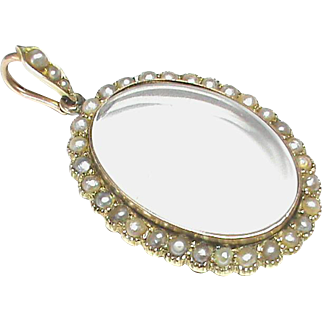 Antique Victorian c1900 9k Gold Seed Pearl Locket Pendant