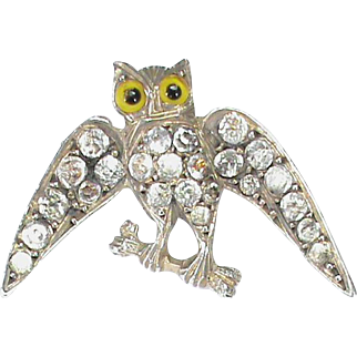 Small Antique Victorian Sterling Silver Paste OWL Brooch