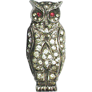 Antique Victorian c1900 Sterling Silver Paste OWL Brooch