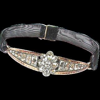 Antique Georgian Sterling Silver Paste Bracelet with gold decor