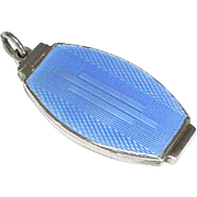 Vintage Art Deco Sterling Silver Blue Enamel Locket Pendant