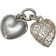 Antique Victorian c1900 Sterling Silver MIZPAH puffy Heart Charms