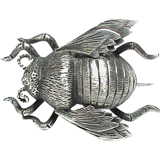 Antique Victorian Sterling Silver Bumble BEE Brooch