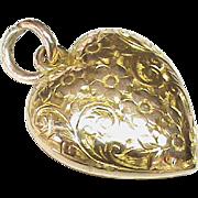 Antique Edwardian 1904 9k Gold Heart Pendant
