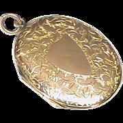 Antique Edwardian 9k Rose Gold Back & Front Etched Locket