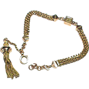 Antique Victorian 9k 9ct Rose Gold Watch Chain Albertina with tassel - Bracelet