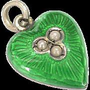 Antique Victorian c1900 Sterling Silver Enamel Heart Charm