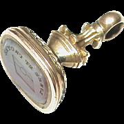 Antique Georgian 9k Rose Gold Seal READ AND BELIEVE Intaglio