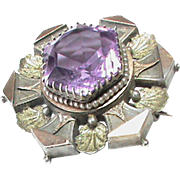 Antique Victorian Sterling Silver Amethyst Brooch with gold decor
