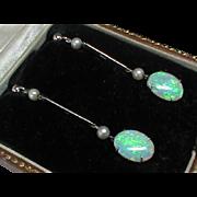 Antique Edwardian 9k White Gold Opal & Cultured Pearl Earrings in Box