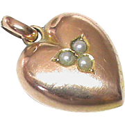 Antique Edwardian 9k Rose Gold Seed Pearl Heart Charm