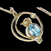 Antique Art Nouveau c1900 9k Gold Seed Pearl OWL Pendant Necklace
