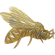 Antique Victorian c1900 Art Nouveau carved Horn WASP Brooch