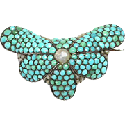 Antique Victorian Sterling Silver Turquoise & Seed Pearl stylized flower Brooch
