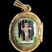 Antique Victorian gold filled Winged Cherub locked up Ceramic Locket Pendant