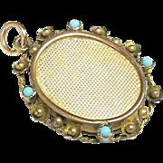 Antique Edwardian 9k Gold faux Turquoise Double Sided Photo Locket Pendant