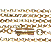 "Antique Edwardian 9k Gold Chain Necklace 5g 20.5"" with barrel clasp"