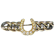 Antique Victorian 15k Gold Seed Pearl Horseshoe Curb Brooch