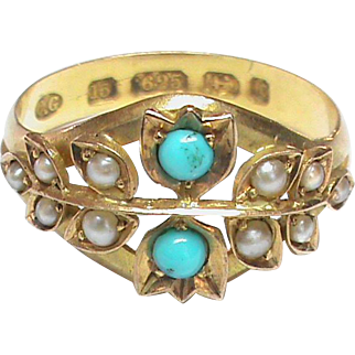 Antique English Victorian 1891 15k Gold Seed Pearl Turquoise Ring