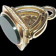 Antique Victorian 9k Gold 1900 Agate Seal Pendant