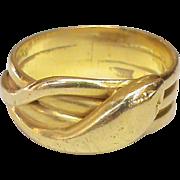 Antique English Edwardian 1903 18k Gold Wide SNAKE Ring 10.1g size 8 3/4