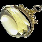 Antique Edwardian 9k Gold Citrine Swivel Seal Fob Pendant