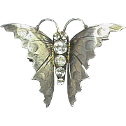 Big Antique Victorian Sterling Silver Paste Butterfly Brooch