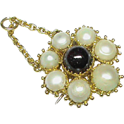 Antique Georgian 18k Gold Natural Split Pearl & Garnet Pendant / Brooch with locket compartment