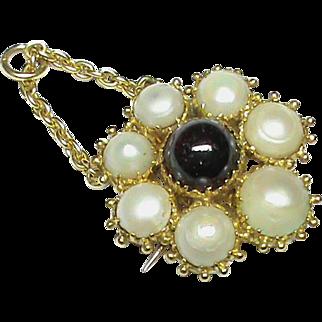 Antique Georgian 18k Gold Natural Split Pearl & Garnet Pendant / Brooch with locket compartment