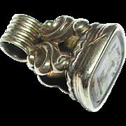 Antique Georgian 9k Gold Family Crest ALWAYS READY Intaglio Seal Fob Charm