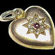 English Antique Victorian 1895 15k Gold Ruby Diamond Heart Charm