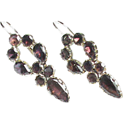 Antique Georgian 9k Gold Almandine Garnet Earrings