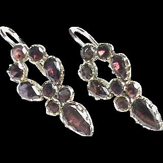 Antique Georgian 9k Gold Almandine Garnet Earrings
