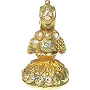 High Quality Antique Georgian 15k three color Gold Basket of Fruit Seal with agate