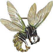 Antique Victorian c1900 Art Nouveau carved horn Bumble Bee Brooch
