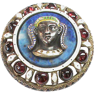 Huge Impressive Antique Victorian Silver Enamel Garnet Lapis Lazuli Egyptian Brooch