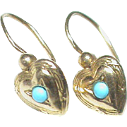 Small Antique Edwardian French 18k Gold Turquoise Heart Earrings