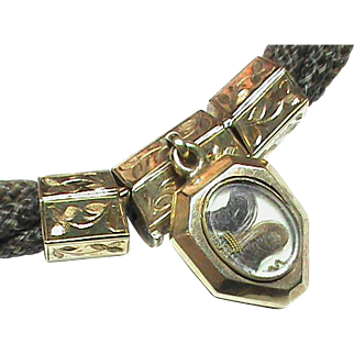 Antique 19th Century 12k Gold Mourning Hair Bracelet with locket charm