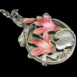 Antique Art Nouveau French Silver 800-900 Enamel Slide Mirror Pendant & Sterling Chain