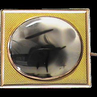 Antique Georgian 9k Gold Agate Brooch