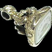 Antique 19th Century Sterling Silver gilt Seal EXCUSE HASTE Turtle Tortoise Intaglio