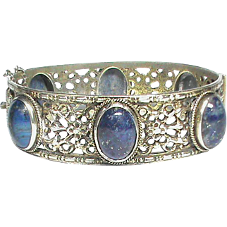 Vintage Art Deco Sterling Silver & Blue Sodalite PERUZZI Bangle