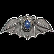 Antique Art Nouveau Sterling Silver Lapis Lazuli BAT Brooch