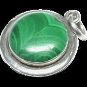 Antique Victorian Sterling Silver Scottish Malachite Locket Charm