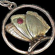 Antique Edwardian 9k Bi-Color Gold Ruby Butterfly Pendant