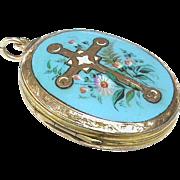 Antique Victorian 9k Gold Back & Front Blue Enamel CROSS Locket Pendant