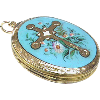 Antique Victorian 9k Gold Back & Front Blue Enamel CROSS Locket Pendant